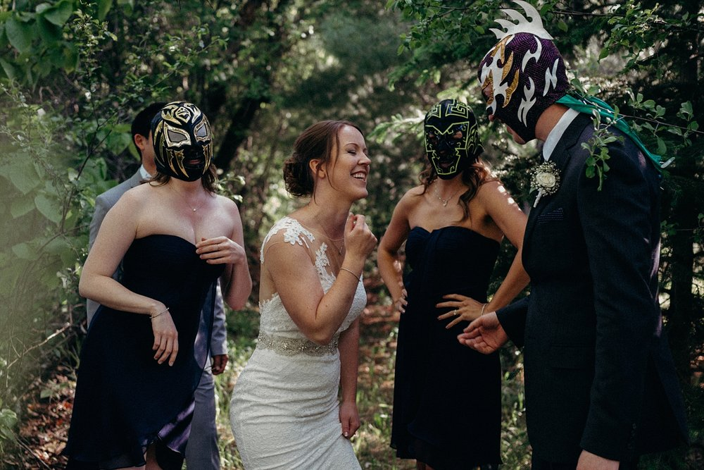 Mocha Tree Studios Ottawa Wedding and Engagement Photographer and Videographer Dark Moody Intimate Authentic Modern Romantic Cinematic Best Candid Mexican Wrestler
