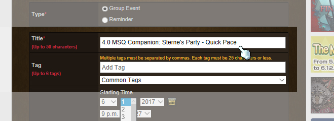 "Step 3: Title the Event: ""4.0 MSQ Companion: *YOUR NAME*'s Party - *YOUR PACE*"