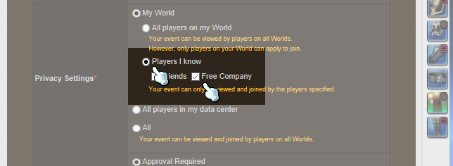 "Step 5: Set the Privacy to ""Players I know"" and ""Free Company"""