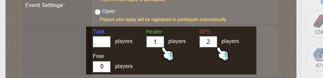 Step 6: Set the roles you NEED. Do NOT set your own role! This comes later. Example: I am a tank, so I selected 1 Healer and 2 DPS