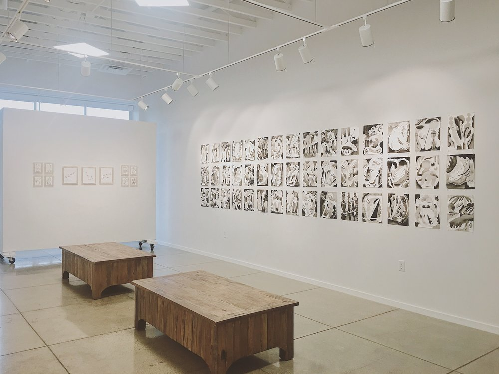 Exhibition view of  INK , featuring works by Vanesa Gingold, Trina Turturici, and Jody Zellen
