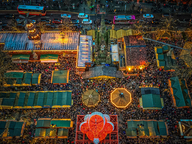 A bird's eye view of the stalls in Albert Square.