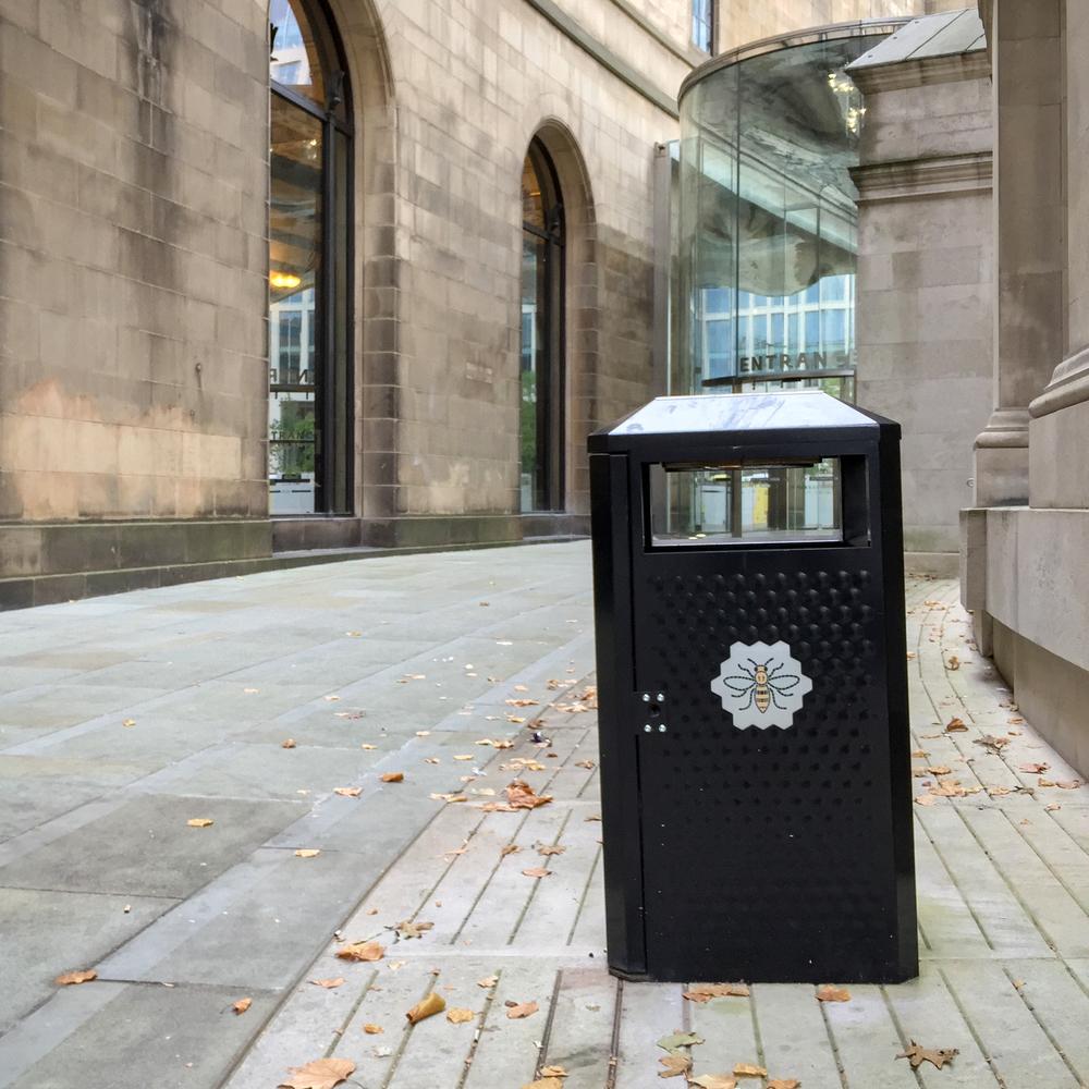 Manchester street litter bin.