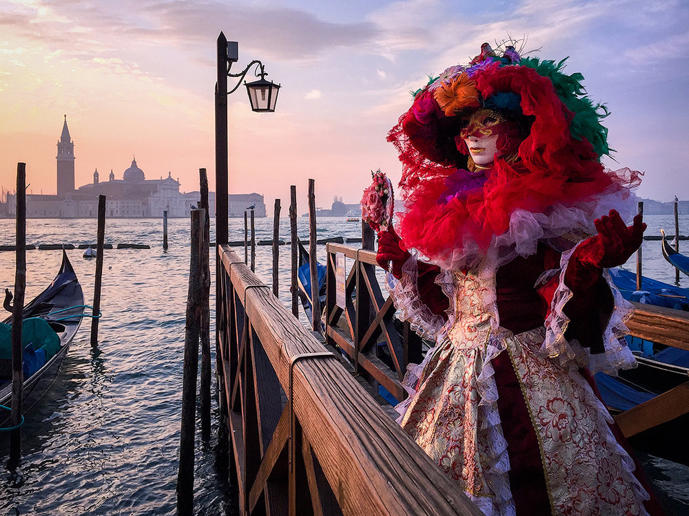 Venice Carnival Lady. iPhone 6 Plus image at sunrise. © Adrian McGarry.