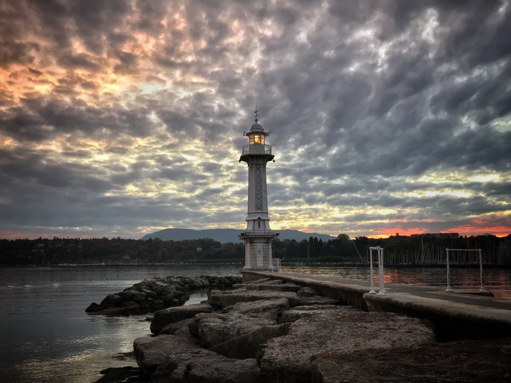 Geneva's lighthouse at sunrise.