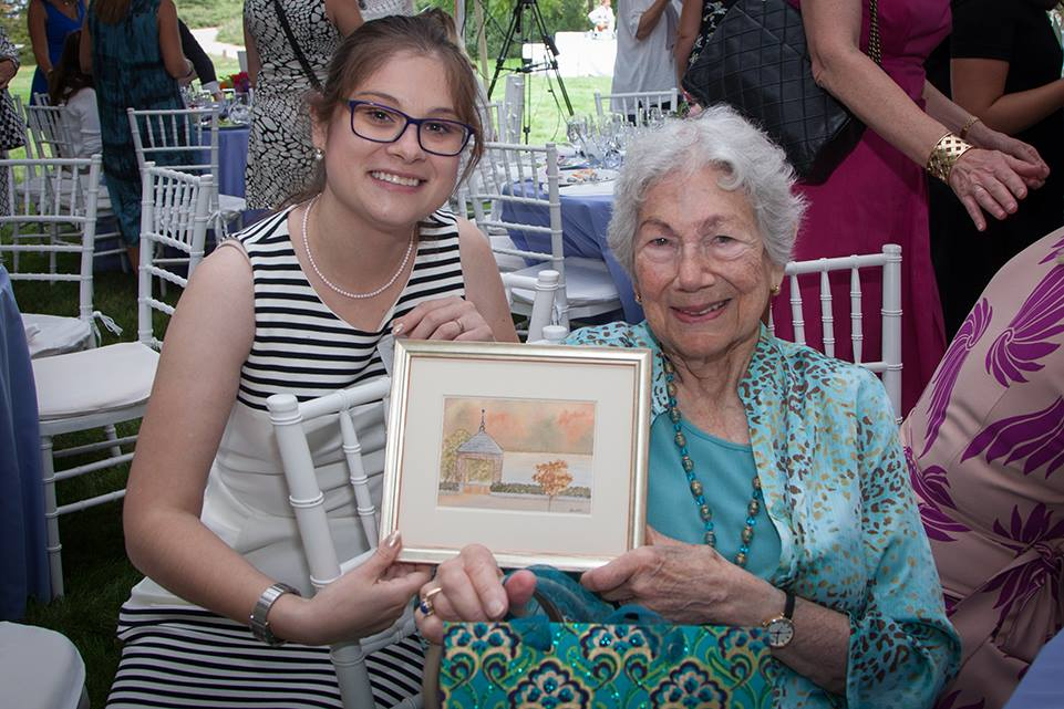 Evelyn Witkin with her gift from Cold Spring Harbor Laboratory. Photo:  Constance Brukin.