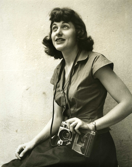 A portrait of Orkin and her camera in 1947. Source:   Ruth Orkin photography  .