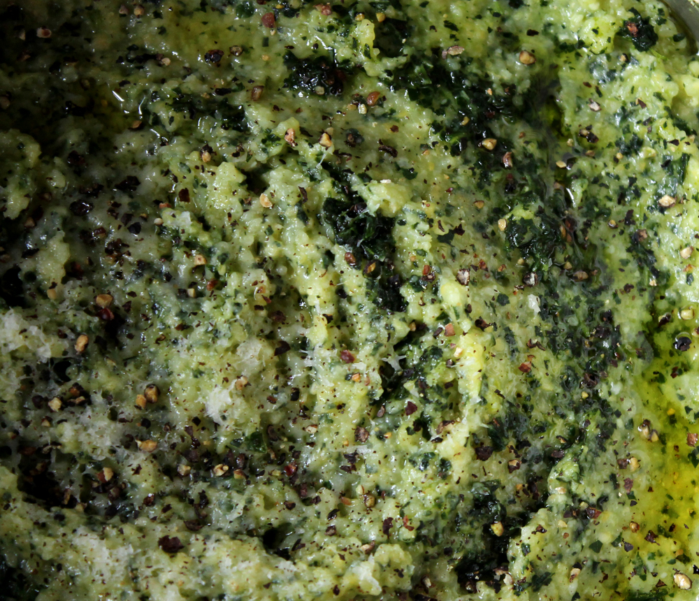 kale polenta extreme close up
