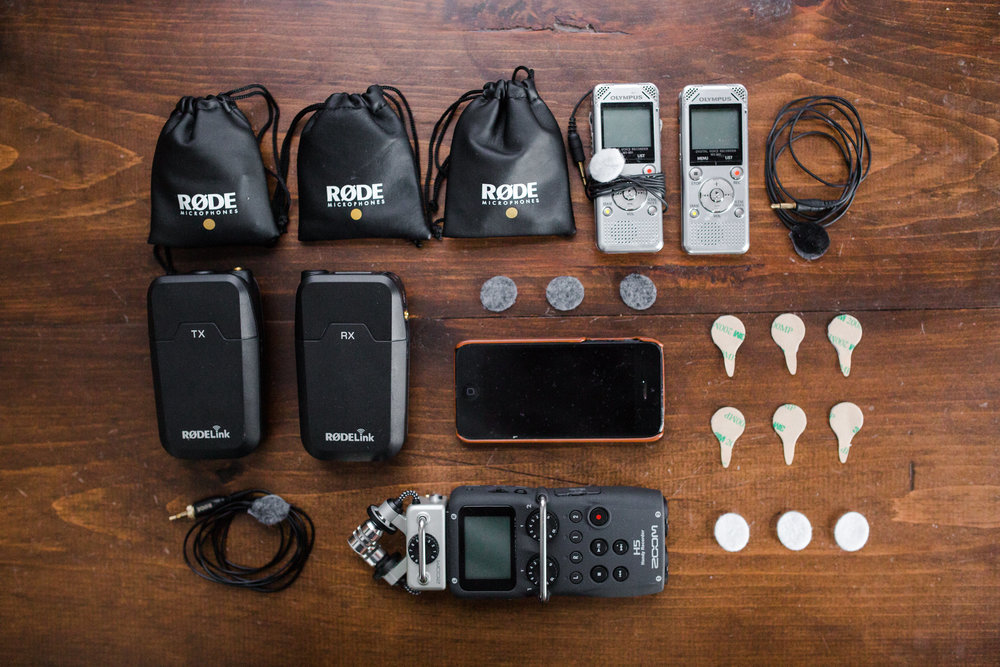 This is my kit for capturing good clean audio throughout the day.  I use mostly wired Lav's when possible and the Rode SmartLav is my favorite.  The Zoom H5 recorder is great for recording house sound out of their sound board if available.