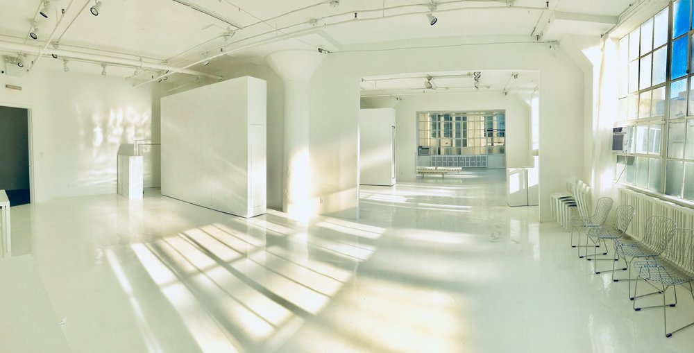 Spaces can be open plan or made separate 1000 sq ft galleries by adding or removing wheeled walls.