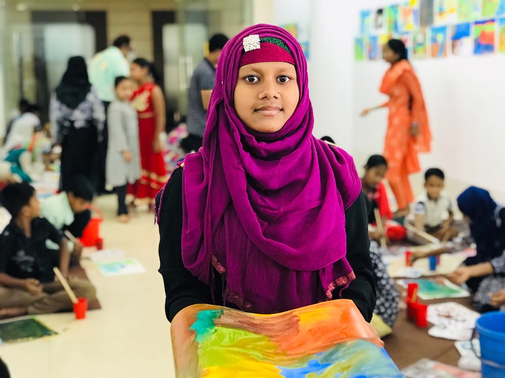 A student from Rogue Foundation's empowerment art program in Bangladesh.