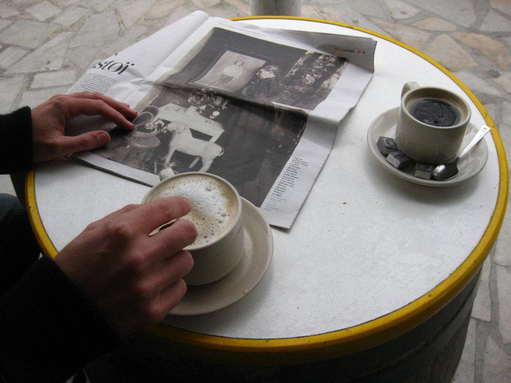 Newspaper at the café