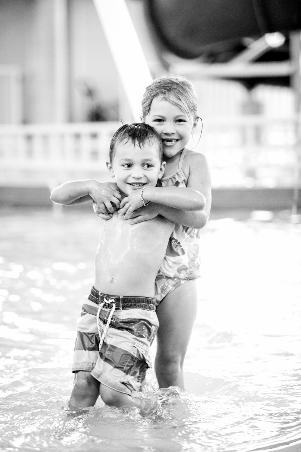 Matthew at the YMCA with his sister Josie. Birdies4Life provided swimming lessons and currently funds this opportunity to help manage his special need.