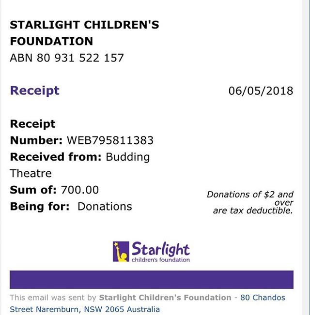 Thank you to our generous charity auction bidders - two posters raised a total of $700 for @starlightau  #starlightfoundation #starlightday #giving #charity #auction #acting #theatre #drama #youththeatre #Canberra #CBRArts #canberralife #canberraevents #buddingtheatre