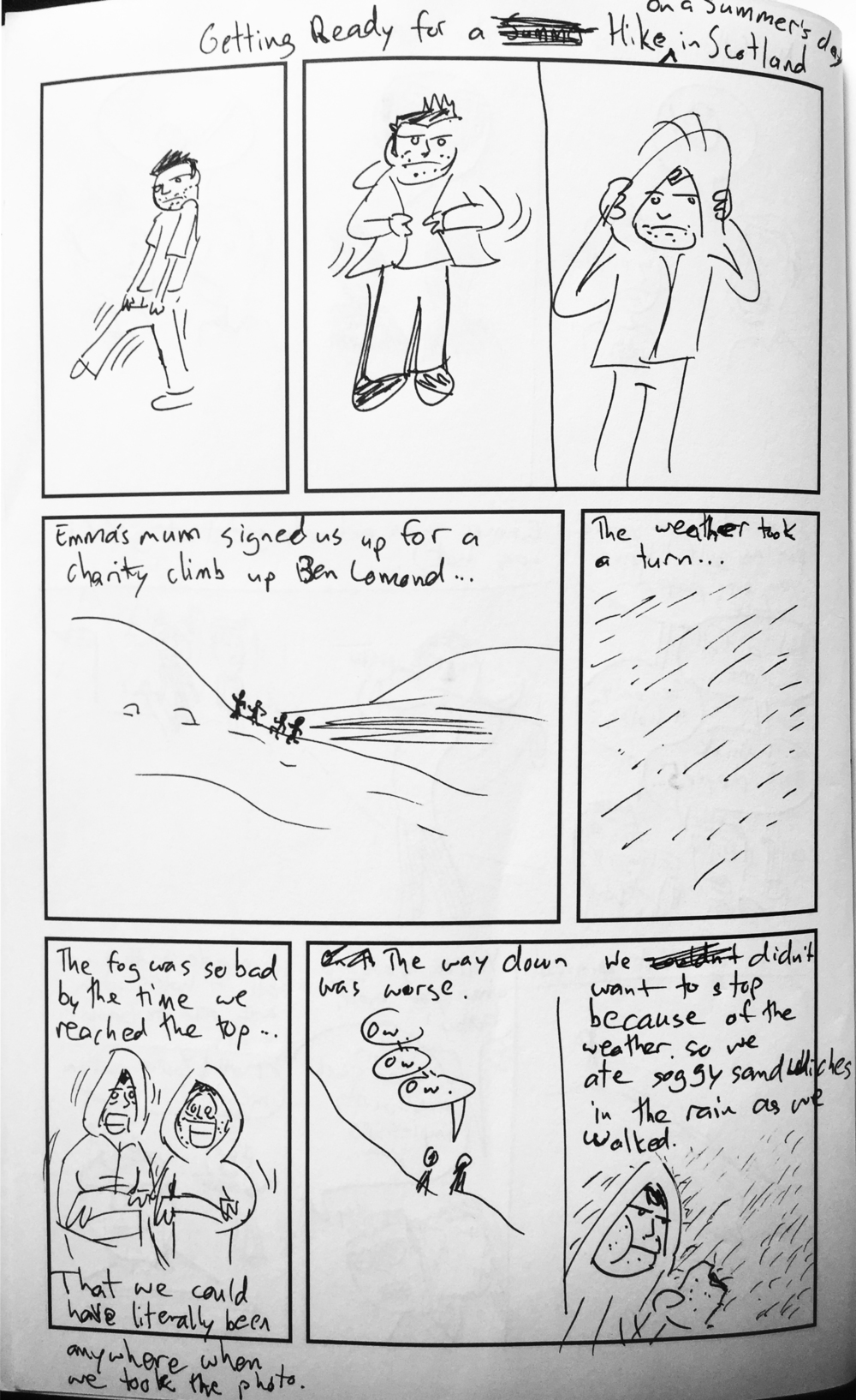 "The first version of this page, drawn in ""The Blank."" Looking back, I miss the progression of pants, coat zipper, hoodie in the first few panels."