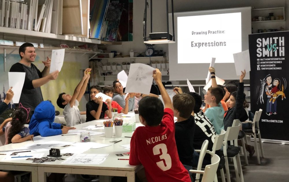 Matt running a workshop at art central in abu dhabi
