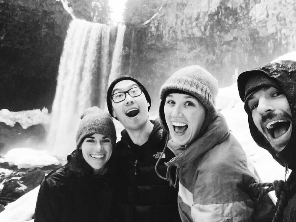 Brian, Alison, Beau and I hiking/sliding on ice to Tamawanas Falls.