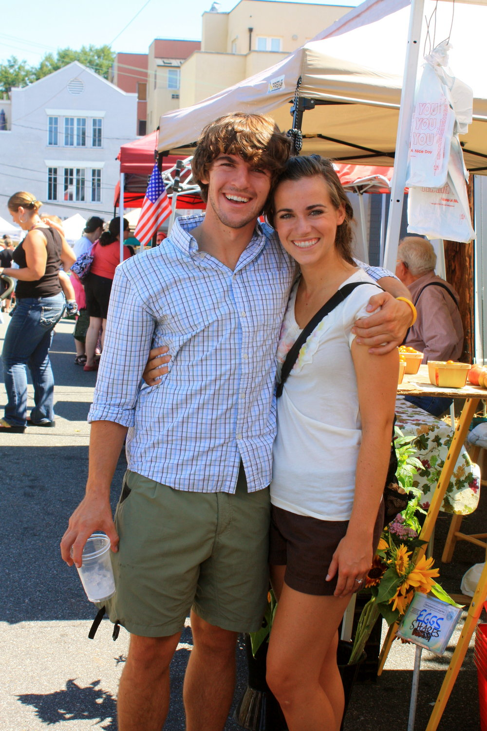 Exploring the Saturday Market during our first few days in Charlottesville (we look like BABIES)