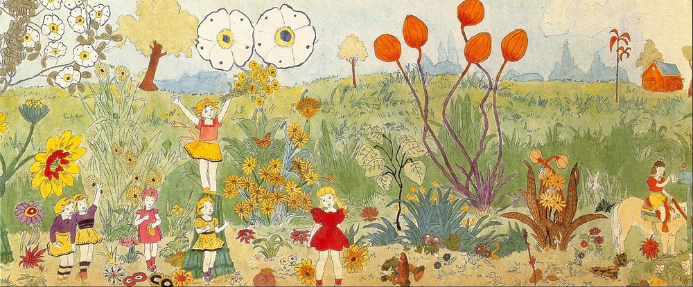"Henry Darger's ""175 at Jennie Richee. Everything is allright though the storm continues."""