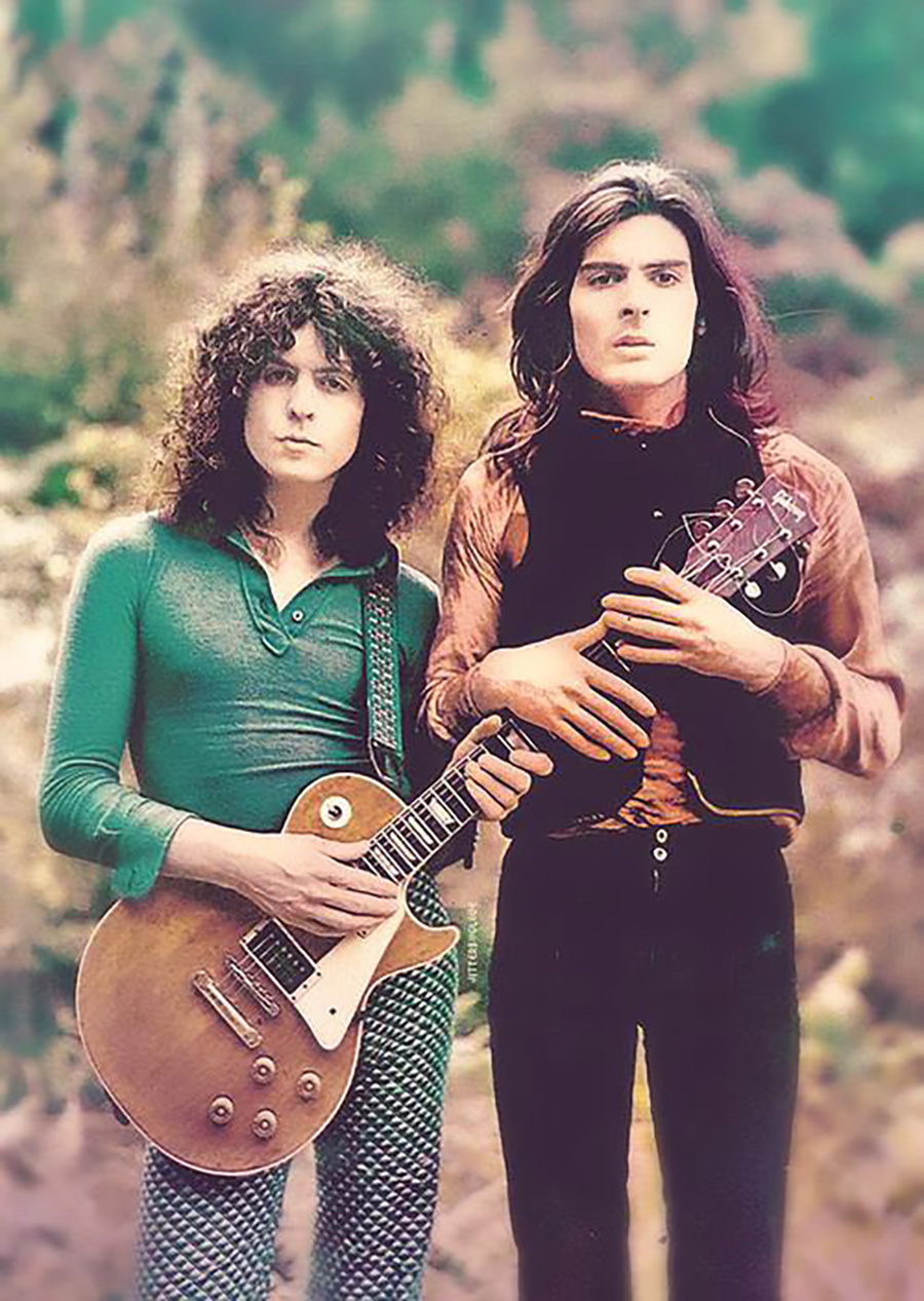 An out-take from the T. Rex album cover with the newly acquired Les Paul, a key component of the T. Rex sound