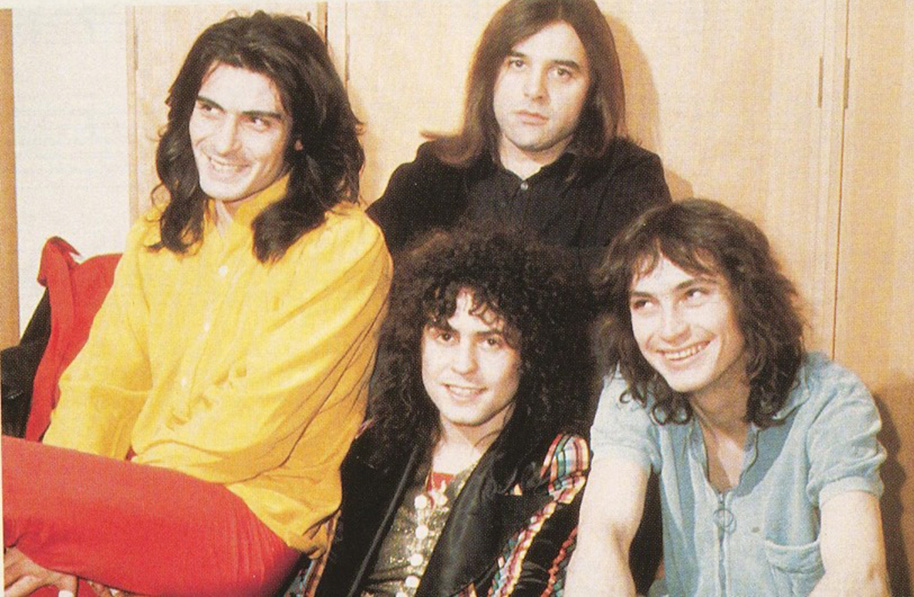 The classic T. Rex line-up - Mickey Finn, Marc Bolan, Bill Legend and Steve Currie
