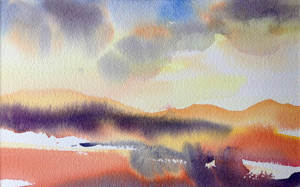 Frances Douglas Watercolour Sunset Towards Loch Lomond.jpg