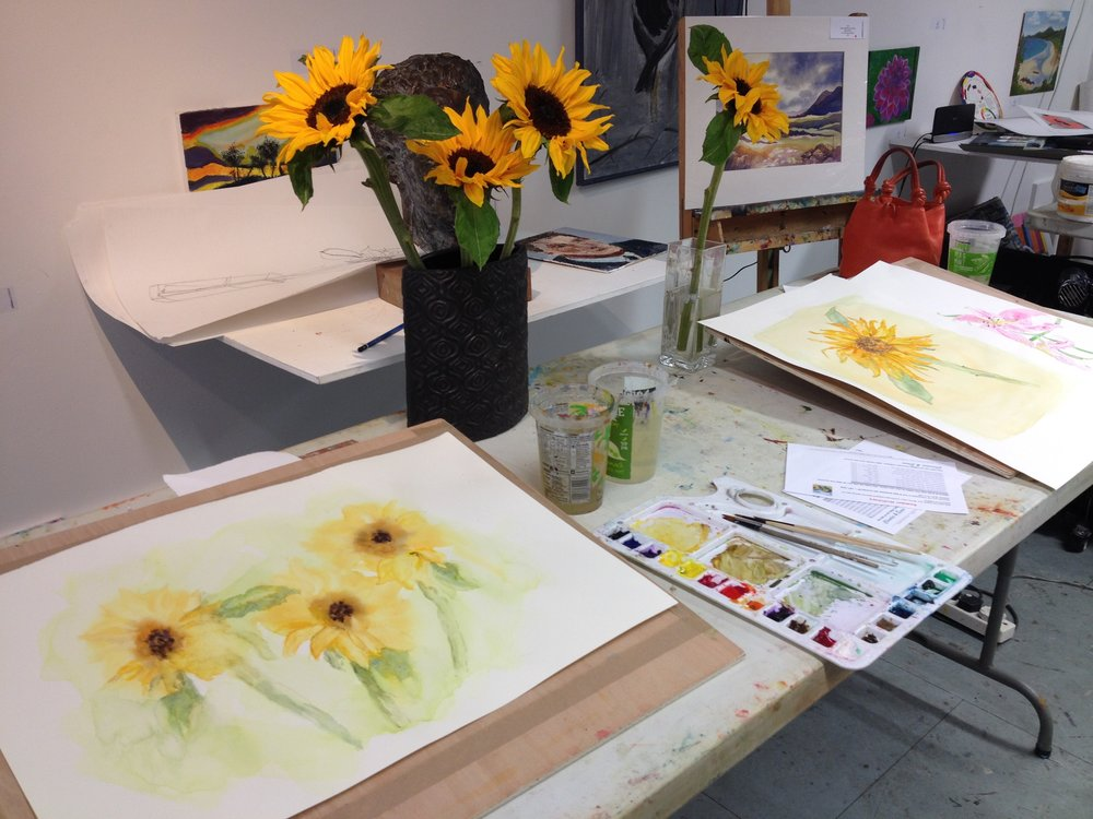 Painting sunflowers in watercolour