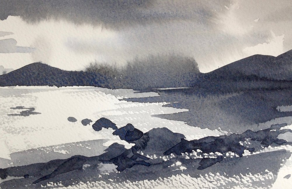 Demonstrating tones at watercolour workshop