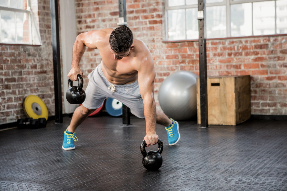 The single arm row is a great movement with a kettlebell to increase intensity and burn more calories