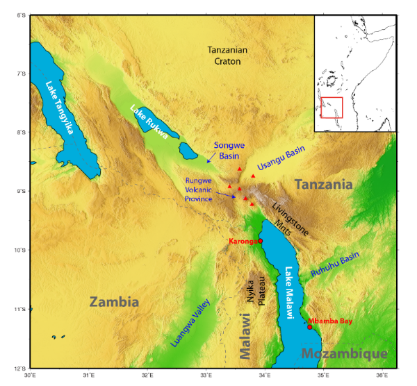 Overview map of the region surrounding the Malawi Rift.  Background color shows elevation from  Etopo1 .  Locations of geologic or geocraphic interest are labeled.  Red triangles indicate Quaternary - recent volcanos.