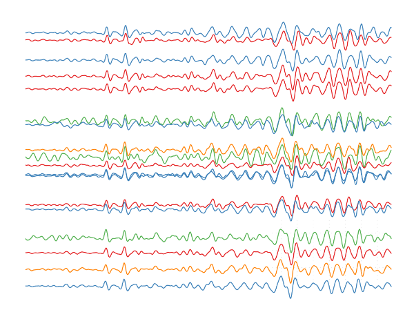 My submission for the  Research as Art  2016 event.  The colored lines are ground motion records from an earthquake in S. California recorded on an array of temporary seismometers in Malawi and Tanzania.