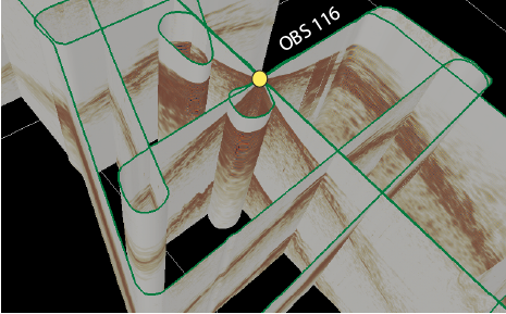 Example using OpendTect for refraction arrival picking.  Green lines show the map view projection of all the lines that we collected data along.  Yellow dot shows location of OBS 116 which is the instrument used for the receiver gather being shown.