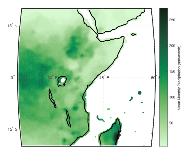 Example of mean monthly precipitation displayed over East Africa using the  NetCDF functions in Matlab.