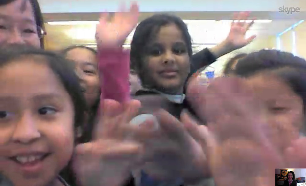 Some happy faces and high fives from a class just across the river from me at P.S. 30 in Brooklyn, NY.
