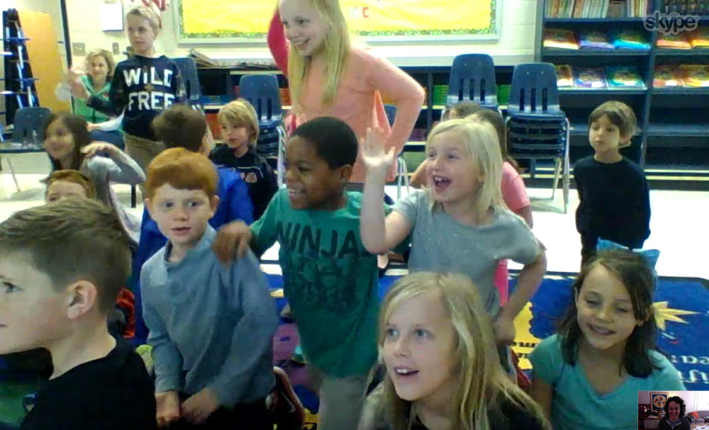 The goodbyes after Skype sessions can be extensive—everyone wants their chance to be on camera. Here are some enthusiastic students signing off from Sweet Apple Elementary in Roswell, GA.