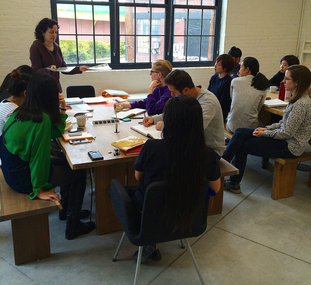Talking picture books with the Illustration Practice (MFA) students at MICA, Baltimore Maryland. (Photo courtesy of Whitney Sherman)