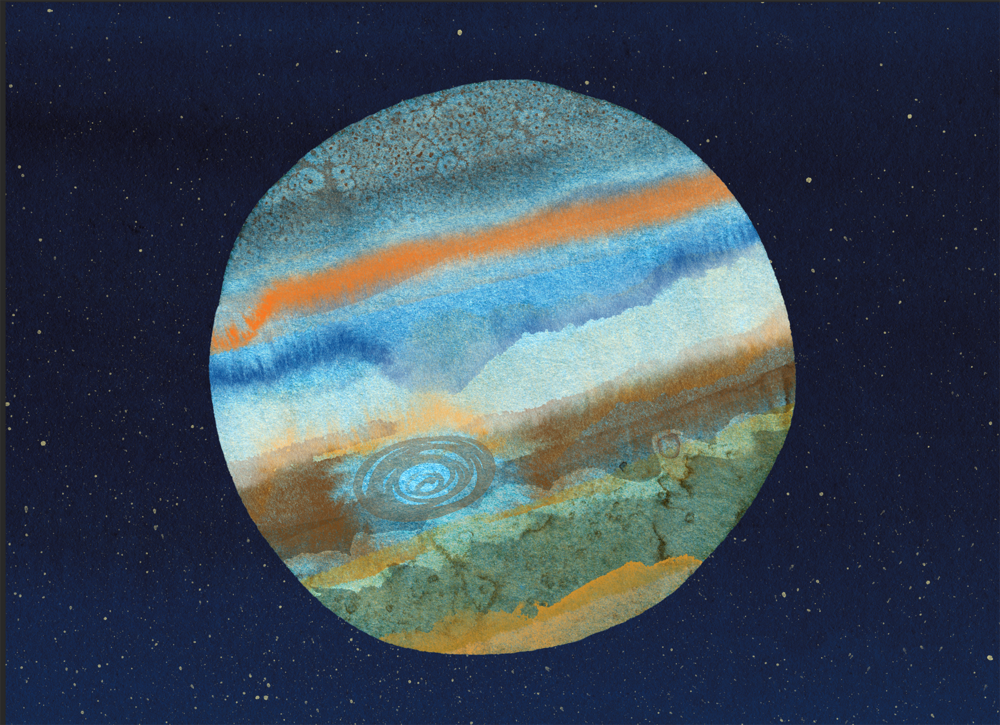...then scan, collage, and color. Of course, this is missing elements of Jupiter's fiery personality.