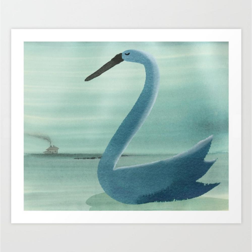 Swan's Seaside Nap print