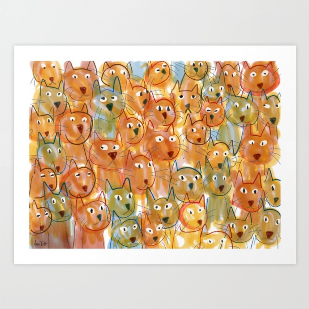 Cat Crowd print