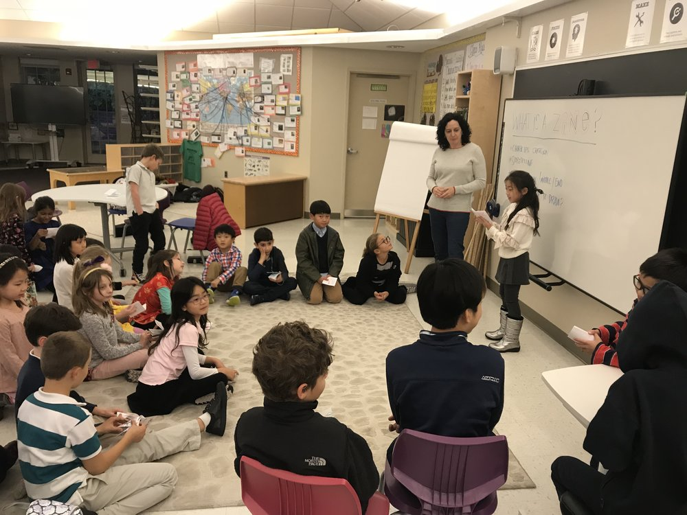 An after school zine workshop with 3rd–5th graders at the Elisabeth Morrow School in Engelwood, NJ.