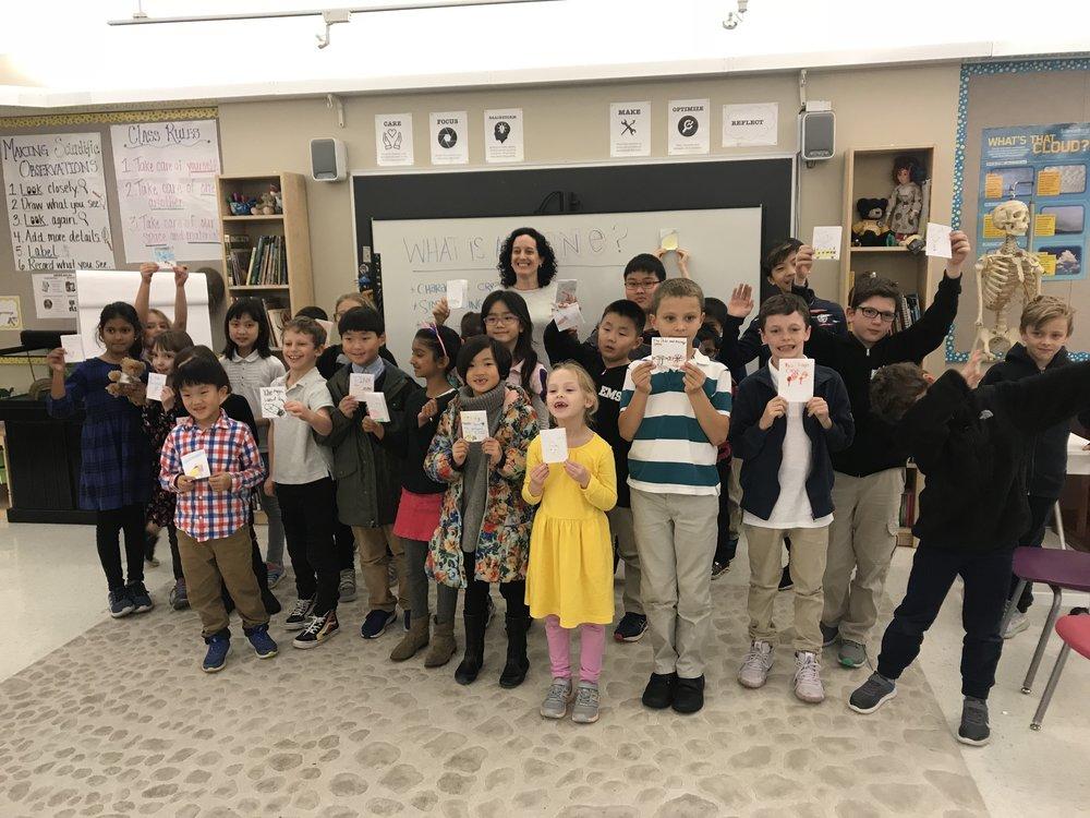 A group of proud book creators at the Elisabeth Morrow School in Engelwood, NJ.