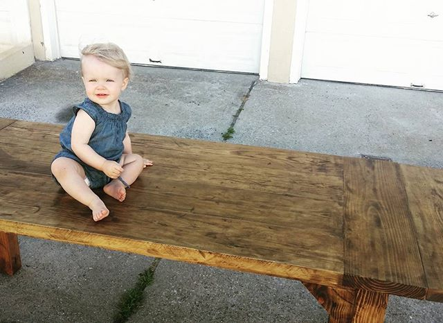 Landry loves Papa's new table ❤. Our first with extensions and this new dark wax finish!  #reclaimedwood #familybusiness #farmtable