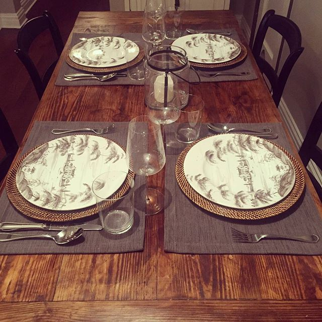 We love happy customers!  Our latest table dressed up for dinner 😊  #reclaimedwood #diningtable #madeinnyc