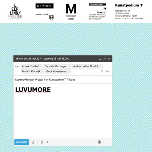 LUVUMORE - Leerling/Meester Project 2014Met: Goof Kloosterman, Dorenda Verhaagen, Andrea Jelina Erevink & Anouk Kruithof.May 2014More info...