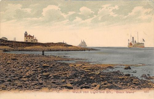 BLOCK ISLAND WATCH HILL LIGHTHOUSE - 1905
