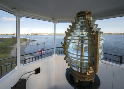 The Lighthouses Fresnel Lens                                                         Photo courtesy of the Rose Island Lighthouse Foundation