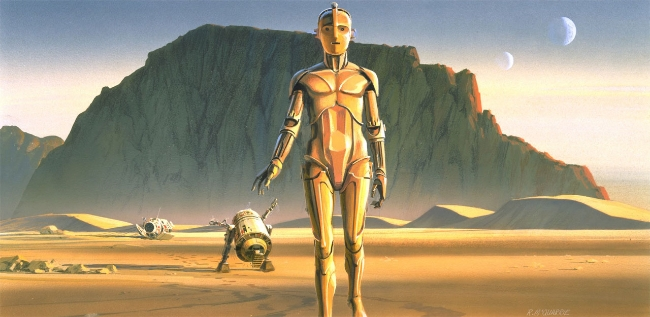 Original concept art by Ralph McQuarrie: Note the vast landscape, the almost overwhelming space that creates a sense of foreboding. R2D2 and C3PO aren't quite the same as we know them in this painting. This image of R2 actually inspired the driod 'Chopper' in Star Wars: Rebels television series.