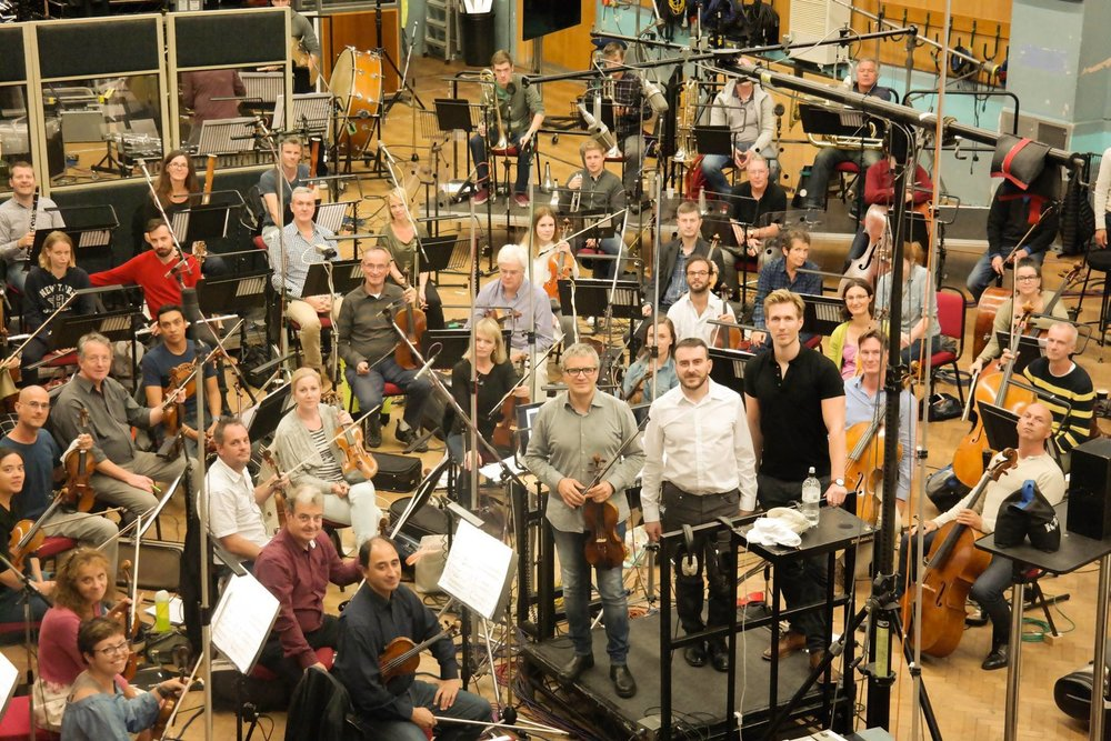London Symphony Orchestra with me, Francesco D'Orazio, Lee Reynolds at the end of the recording of my Violin Concerto in the Studio 1 of the Abbey Road Studios.