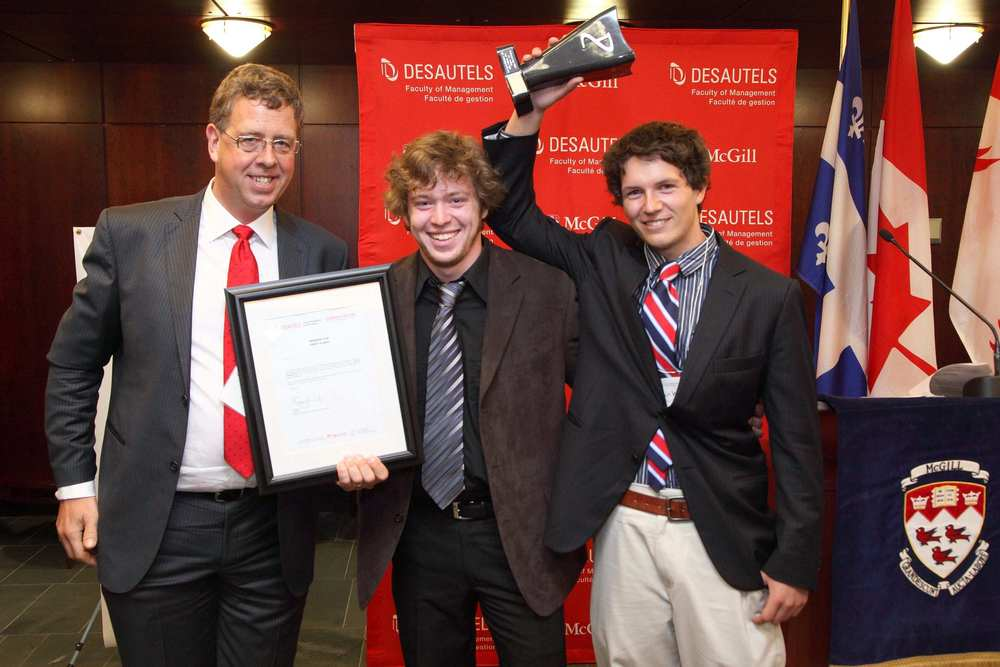 First place, 2011 McGill Dobson Cup business plan competition with Matthew Brightman and Greg Vitt.