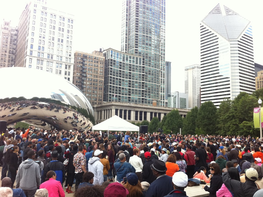 Soul Train 40th Anniversary Celebration in Millennium Park. DJ Herb Kent performing in photo